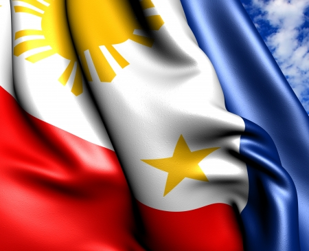 Flag of Philippines against cloudy sky. Close up.