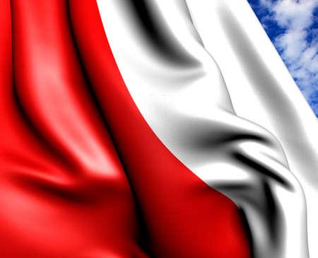 Flag of Poland against cloudy sky. Close up.  photo