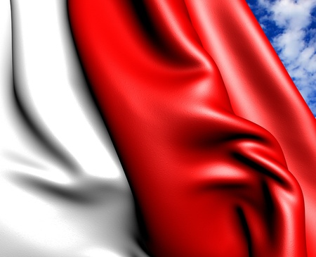Flag of Indonesia against cloudy sky. Close up.  Stock Photo - 9203931