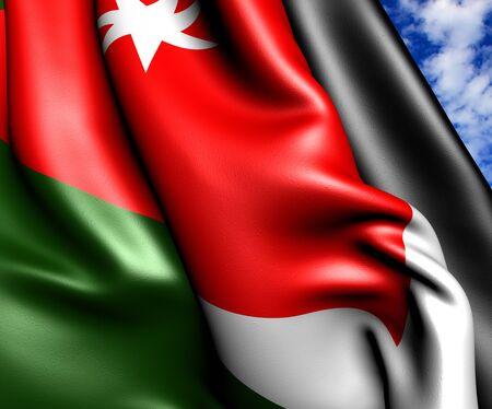 jordan: Flag of Jordan against cloudy sky. Close up.
