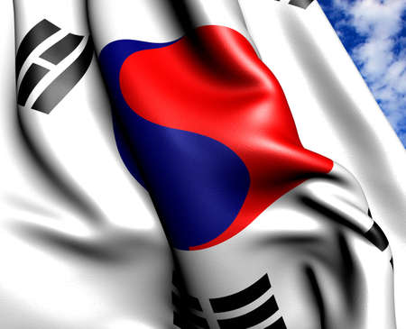Flag of Korea against cloudy sky. Close up.  photo