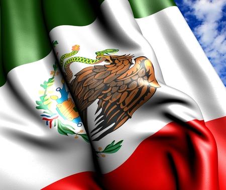 Bandera de México contra el cielo nublado. Cerrar.  Foto de archivo