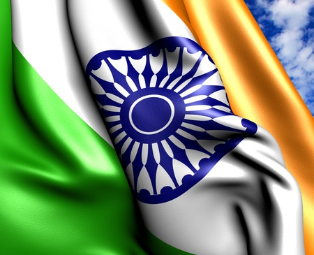 Flag of India against cloudy sky. Close up.  photo