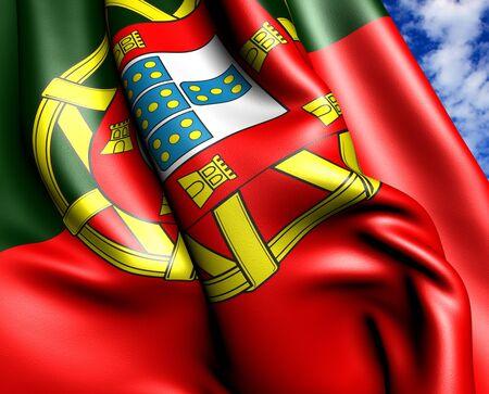 portugal flag: Flag of Portugal against cloud sky. Close up.