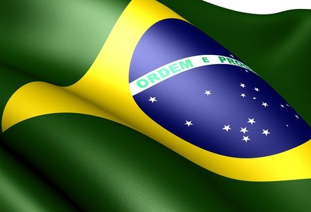 Flag of Brazil. Close up.