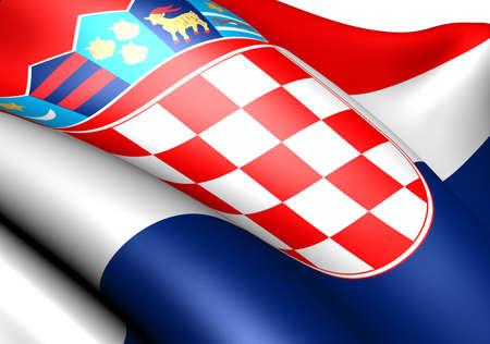 Flag of Croatia against white background. Close up.  photo