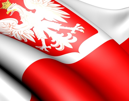 Flag of Poland against white background. Close up.  photo