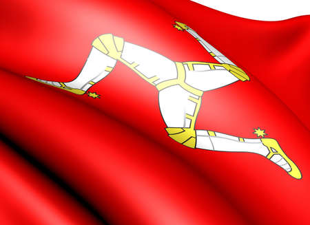 man close up: Flag of Man against white background. Close up.  Stock Photo