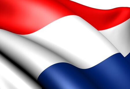 Flag of Netherlands against white background. Close up.  photo