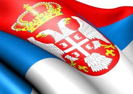 bandera blanca: Bandera de Serbia sobre fondo blanco. Cerrar.