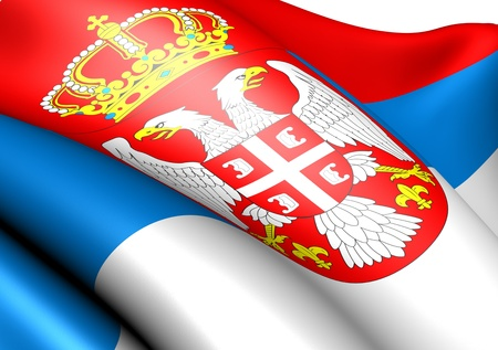 serbian: Flag of Serbia against white background. Close up.