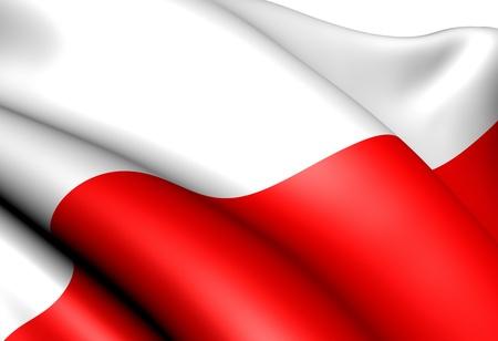 Flag of Poland against white background. Close up.