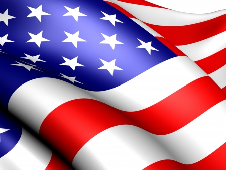 Flag of USA against white background. Close up.  Stock Photo