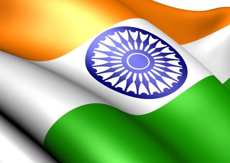Bandera de la India. Cerrar.