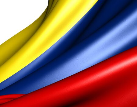 Flag of Colombia against white background. Close up.  photo