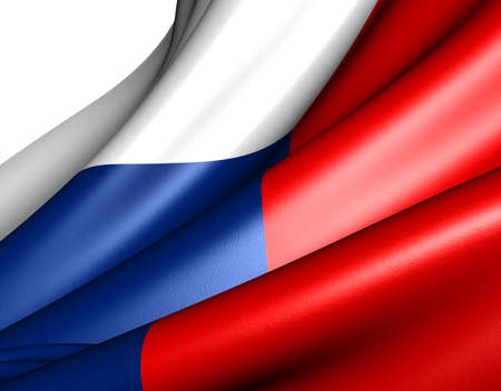 Flag of Czech republic against white background. Close up.  Stock Photo - 9359514