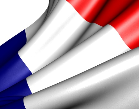 Flag of France against white background. Close up.  photo