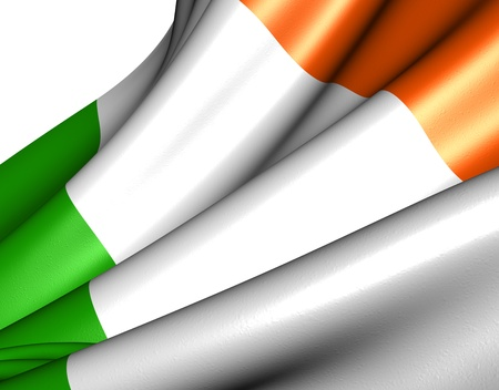 Flag of Ireland against white background. Close up. Stock Photo - 9359481