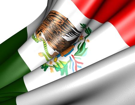 bandera de mexico: Bandera de México sobre fondo blanco. Cerrar.