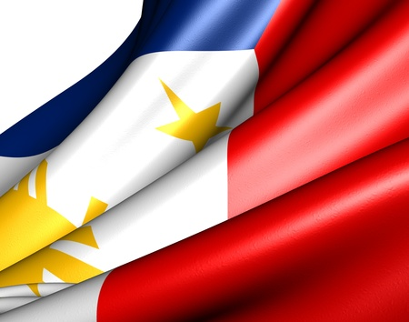 Flag of Philippines against white background. Close up.