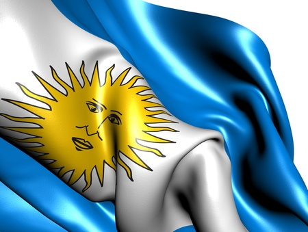 Flag of Argentina against white background. Close up.  photo