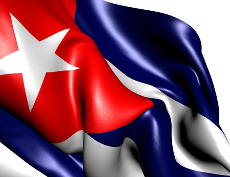 cuba flag: Flag of Cuba against white background. Close up.