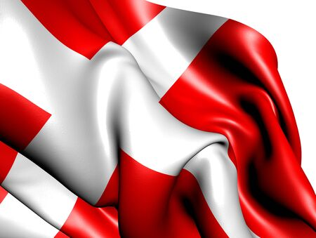 Flag of Denmark against white background. Close up.  Stock Photo - 9429537