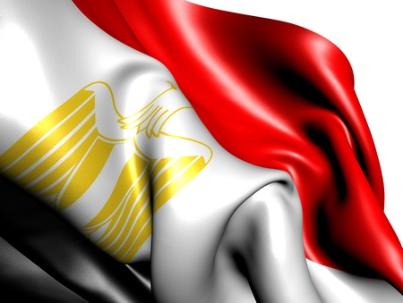 egypt flag: Bandera de Egipto sobre fondo blanco. Cerrar.