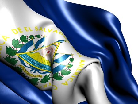 Flag of El Salvador against white background. Close up.  photo
