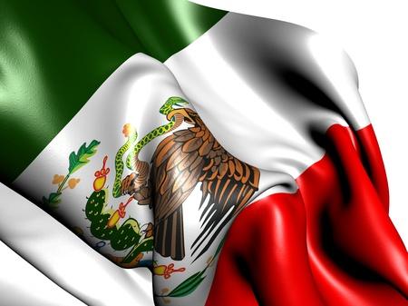 bandera mexicana: Bandera de M�xico sobre fondo blanco. Cerrar.