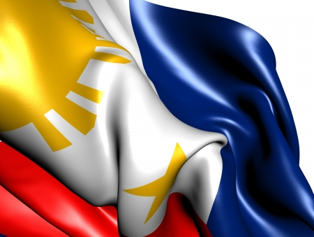 philippine: Flag of Philippines against white background. Close up.