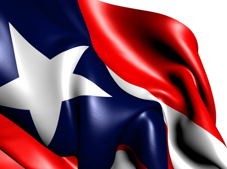 Flag of Puerto Rico against white background. Close up.