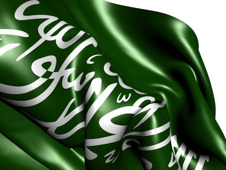 saudi: Flag of Saudi Arabia against white background. Close up.  Stock Photo