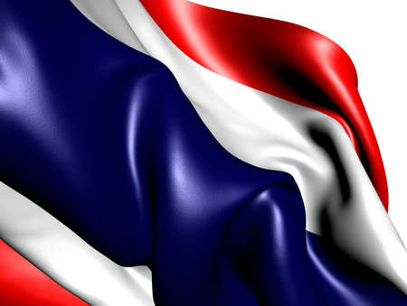 Flag of Thailand against white background. Close up.  photo