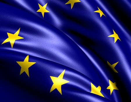 europeans: Flag of EU. Close up.  Stock Photo