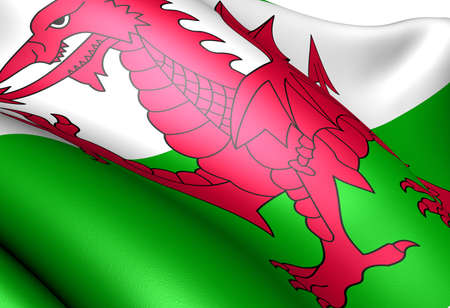 western europe: Flag of Wales. Close up.  Stock Photo