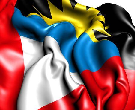 antigua: Flag of Antigua and Barbuda against white background. Close up.  Stock Photo