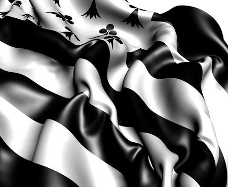 bretagne: Flag of Bretagne, France. Stock Photo