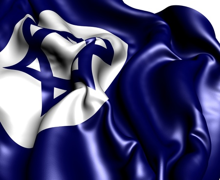 Civil Ensign of Israel against white background. Close up.  photo