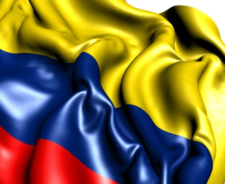 colombian flag: Flag of Colombia against white background. Close up.  Stock Photo