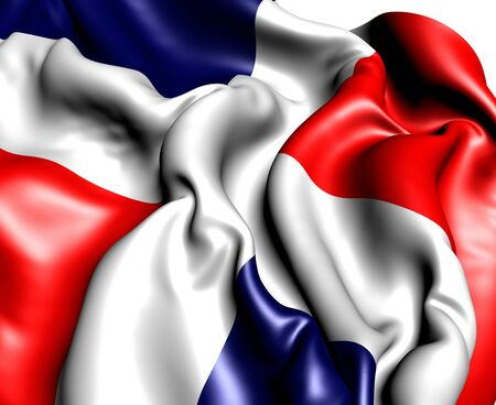 dominican: Flag of Dominican Republic against white background. Close up.