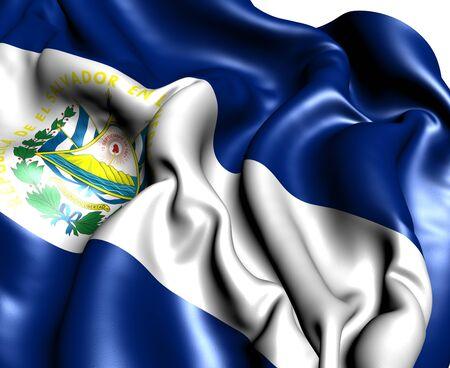 bandera de el salvador: Bandera del Salvador sobre fondo blanco. Cerrar.  Foto de archivo