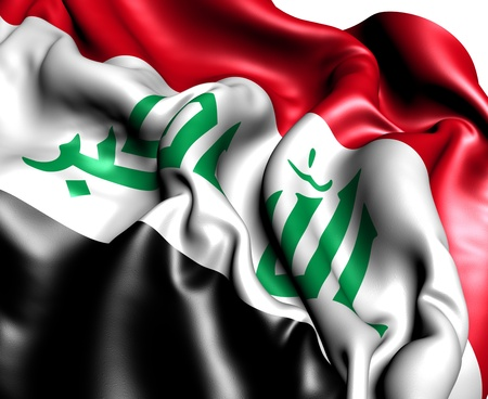Flag of Iraq against white background. Close up.  photo