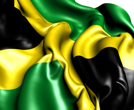 Flag of Jamaica against white background. Close up.
