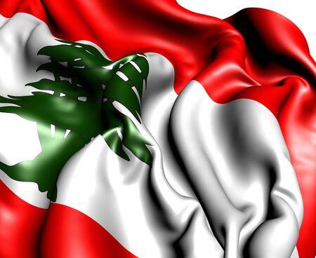 Flag of Lebanon against white background. Close up.  photo