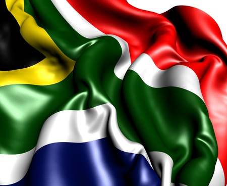 south african: Flag of South Africa against white background. Close up.