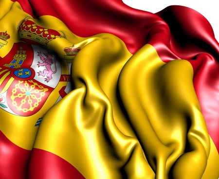 Flag of Spain against white background. Close up.