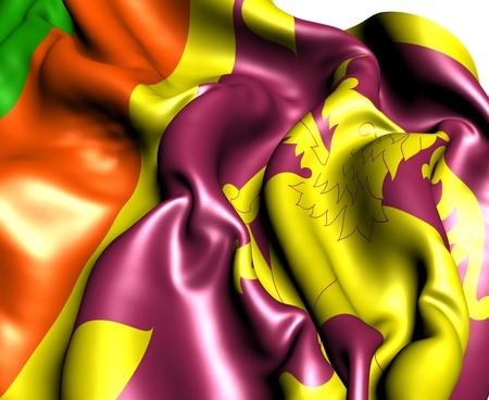 srilanka: Flag of Sri Lanka against white background. Close up.  Stock Photo