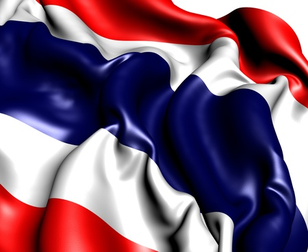 Flag of Thailand against white background. Close up. Stock Photo - 9660476
