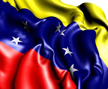 Venezuela flag: Bandera de Venezuela sobre fondo blanco. Cerrar.